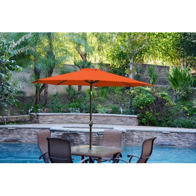 9 Market Umbrella Color: Orange, Frame Finish: Champagne