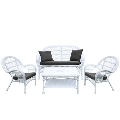 Santa Maria Wicker Conversation 4 Piece Seating Group with Cushion Fabric: Black, Finish: White
