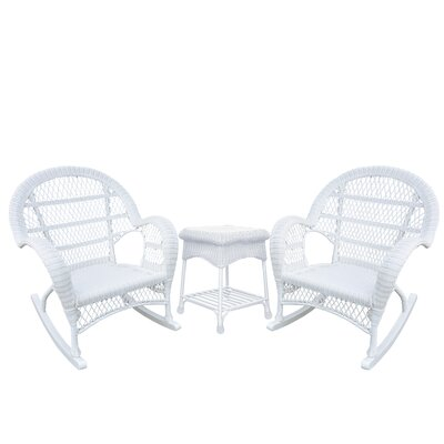 Santa Maria Wicker 3 Piece Rocker Seating Group Finish: White