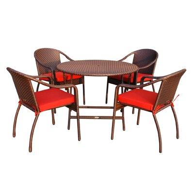 5 Piece Dining Set with Cushion Fabric: Red