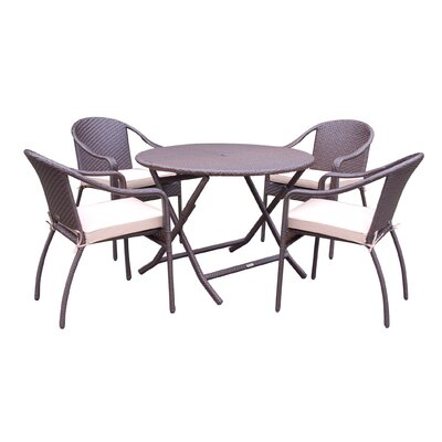 5 Piece Dining Set with Cushion Fabric: Tan