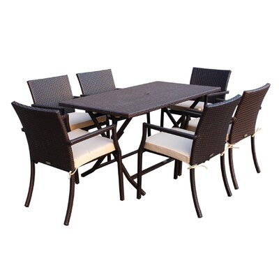 7 Piece Dining Set with Cushions Fabric: Tan
