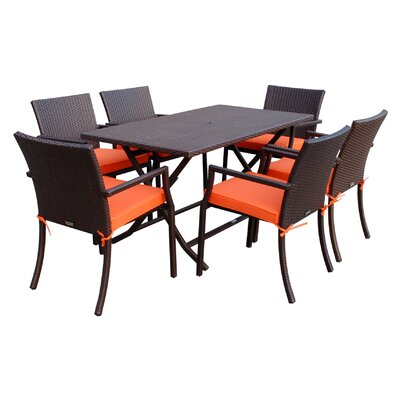 7 Piece Dining Set with Cushions Fabric: Orange