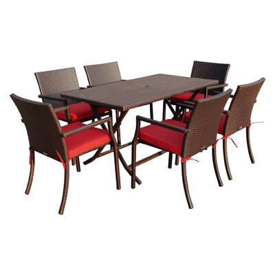 7 Piece Dining Set with Cushions Fabric: Red