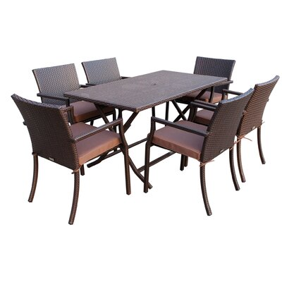 7 Piece Dining Set with Cushions Fabric: Brown