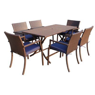 7 Piece Dining Set with Cushions Fabric: Blue
