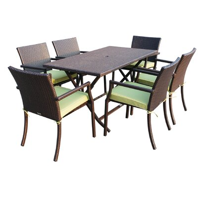 7 Piece Dining Set with Cushions Fabric: Green