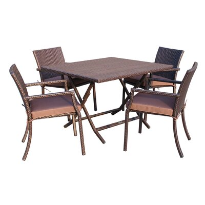 5 Piece Dining Set with Cushion Fabric: Brown