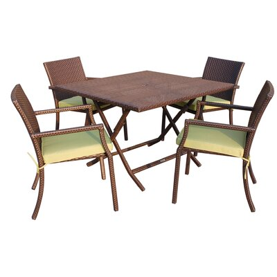 5 Piece Dining Set with Cushion Fabric: Green