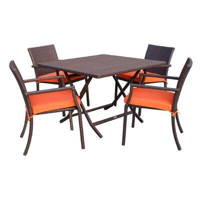 5 Piece Dining Set with Cushion Fabric: Orange