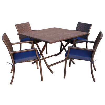 5 Piece Dining Set with Cushion Fabric: Blue