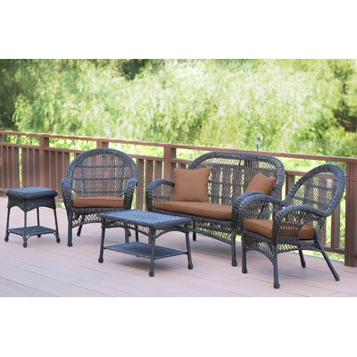 Santa Maria Wicker Conversation 5 Piece Seating Group with Cushion Finish: Espresso, Fabric: Cocoa Brown