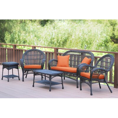 Santa Maria Wicker Conversation 5 Piece Seating Group with Cushion Finish: Espresso, Fabric: Brick Orange
