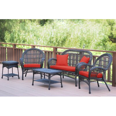 Santa Maria Wicker Conversation 5 Piece Seating Group with Cushion Finish: Espresso, Fabric: Red Orange