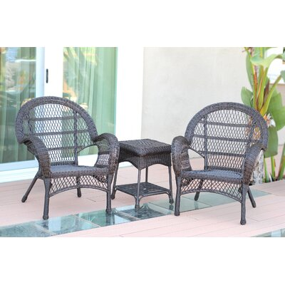 Santa Maria Wicker 3 Piece Seating Group Finish: Espresso