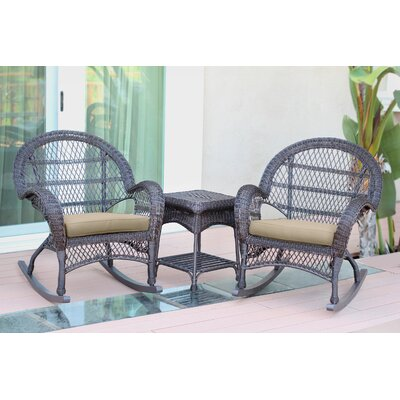 Santa Maria Wicker 3 Piece Rocker Seating Group with Cushion Fabric: Green, Frame Finish: Black