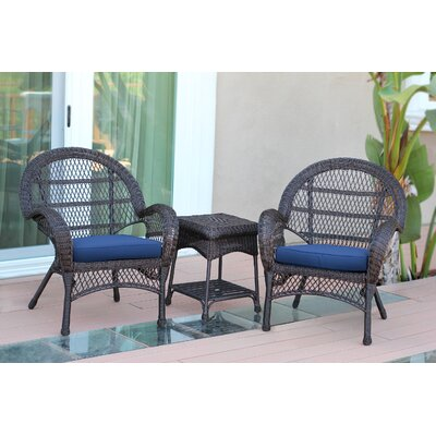 Santa Maria Wicker 3 Piece Seating Group with Cushions Frame Finish: Espresso, Fabric: Blue
