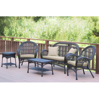 Santa Maria Wicker Conversation 5 Piece Seating Group with Cushion Finish: Espresso, Fabric: Tan