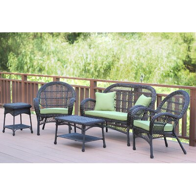 Santa Maria Wicker Conversation 5 Piece Seating Group with Cushion Finish: Espresso, Fabric: Green