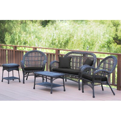 Santa Maria Wicker Conversation 5 Piece Seating Group with Cushion Finish: Espresso, Fabric: Black