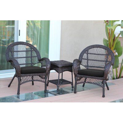 Santa Maria Wicker 3 Piece Seating Group with Cushions Frame Finish: Espresso, Fabric: Black
