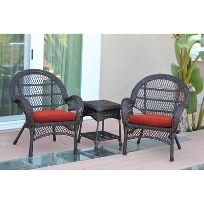Santa Maria Wicker 3 Piece Seating Group with Cushions Frame Finish: Espresso, Fabric: Red
