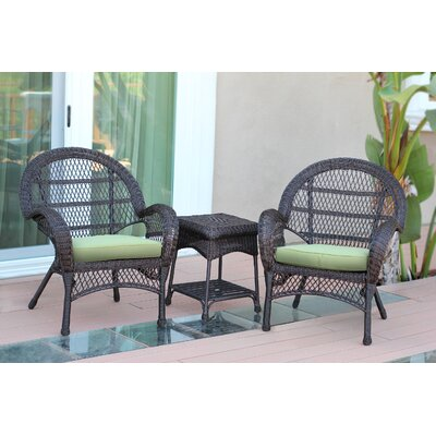 Santa Maria Wicker 3 Piece Seating Group with Cushions Frame Finish: Espresso, Fabric: Green