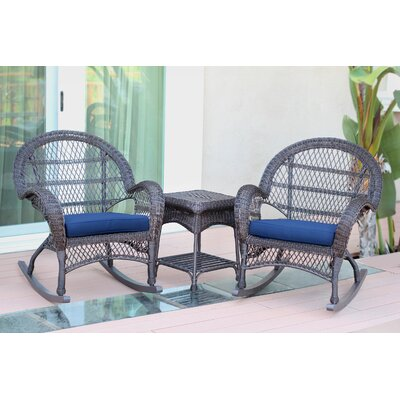 Santa Maria Wicker 3 Piece Rocker Seating Group with Cushion Frame Finish: Espresso, Fabric: Blue