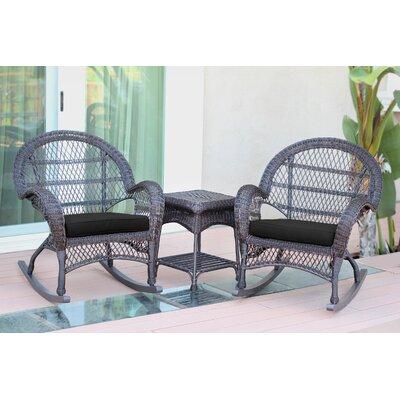 Santa Maria Wicker 3 Piece Rocker Seating Group with Cushion Frame Finish: Espresso, Fabric: Black