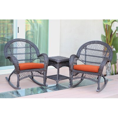 Santa Maria Wicker 3 Piece Rocker Seating Group with Cushion Frame Finish: Espresso, Fabric: Orange
