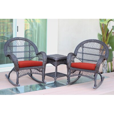 Santa Maria Wicker 3 Piece Rocker Seating Group with Cushion Frame Finish: Espresso, Fabric: Red