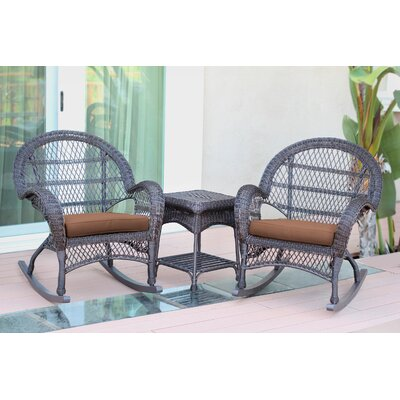 Santa Maria Wicker 3 Piece Rocker Seating Group with Cushion Frame Finish: Espresso, Fabric: Brown