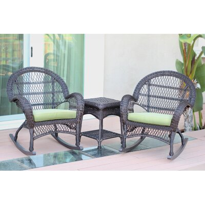 Santa Maria Wicker 3 Piece Rocker Seating Group with Cushion Finish: Espresso, Fabric: Green