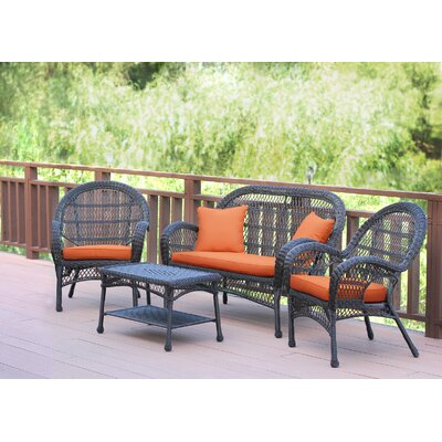 Santa Maria Wicker Conversation 4 Piece Seating Group with Cushion Finish: Espresso, Fabric: Brick Orange