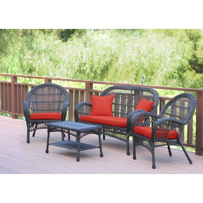 Santa Maria Wicker Conversation 4 Piece Seating Group with Cushion Finish: Espresso, Fabric: Red Orange