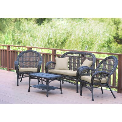 Santa Maria Wicker Conversation 4 Piece Seating Group with Cushion Fabric: Green, Finish: White