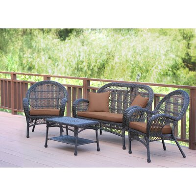 Santa Maria Wicker Conversation 4 Piece Seating Group with Cushion Finish: Espresso, Fabric: Cocoa Brown