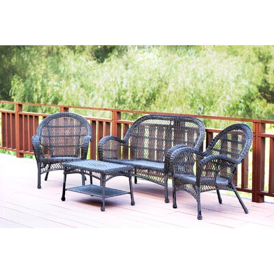 Santa Maria Wicker Conversation 4 Piece Seating Group Finish: Espresso