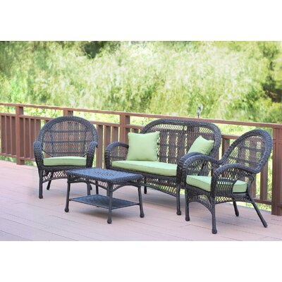 Santa Maria Wicker Conversation 4 Piece Seating Group with Cushion Finish: Espresso, Fabric: Green