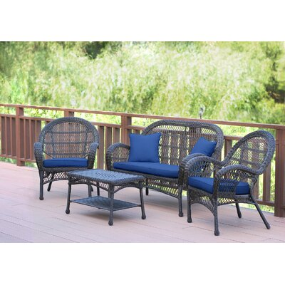 Santa Maria Wicker Conversation 4 Piece Seating Group with Cushion Finish: Espresso, Fabric: Navy Blue
