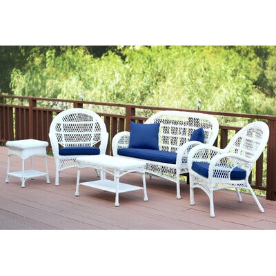 Santa Maria Wicker Conversation 5 Piece Seating Group with Cushion Fabric: Navy Blue, Finish: White