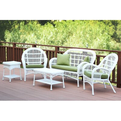 Santa Maria Wicker Conversation 5 Piece Seating Group with Cushion Fabric: Green, Finish: White