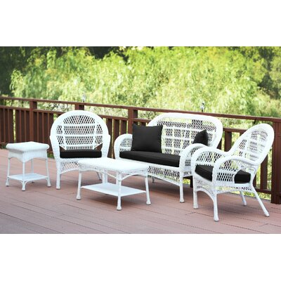 Santa Maria Wicker Conversation 5 Piece Seating Group with Cushion Fabric: Black, Finish: White