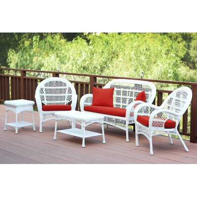 Santa Maria Wicker Conversation 5 Piece Seating Group with Cushion Fabric: Red Orange, Finish: White