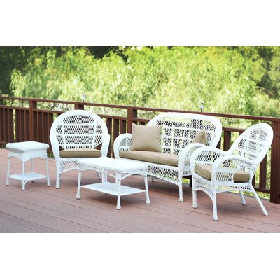 Santa Maria Wicker Conversation 5 Piece Seating Group with Cushion Finish: White, Fabric: Tan
