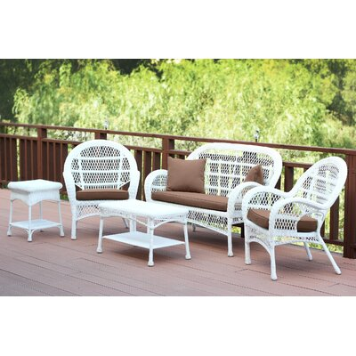 Santa Maria Wicker Conversation 5 Piece Seating Group with Cushion Finish: White, Fabric: Cocoa Brown