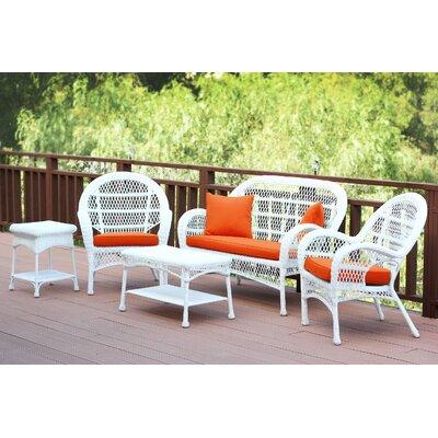 Santa Maria Wicker Conversation 5 Piece Seating Group with Cushion Fabric: Brick Orange, Finish: White