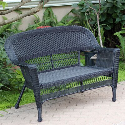 Wicker Patio Loveseat Finish: Black