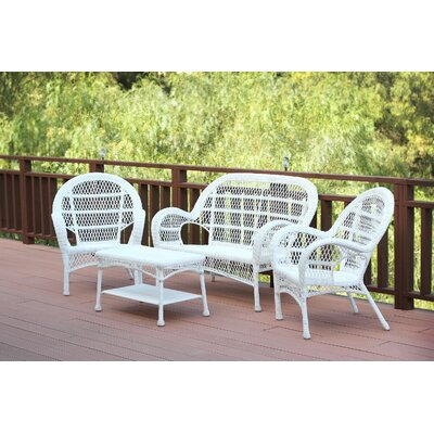 Santa Maria Wicker Conversation 4 Piece Seating Group Finish: White