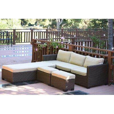 Saint Helena 5 Piece Deep Seating Group Set Fabric: Tan